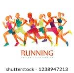 running marathon  people run  ... | Shutterstock .eps vector #1238947213
