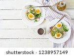 healthy food. breakfast.... | Shutterstock . vector #1238957149
