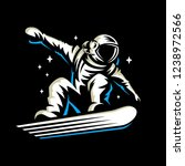 astronaut rides on snowboard... | Shutterstock .eps vector #1238972566