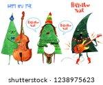 watercolor christmas tree card. ... | Shutterstock . vector #1238975623