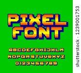 pixel alphabet font. digital...   Shutterstock .eps vector #1239001753