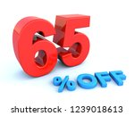 big red glossy 65 percent off... | Shutterstock . vector #1239018613
