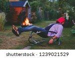 tired man fell asleep while... | Shutterstock . vector #1239021529