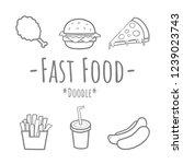set of fast food doodle fried... | Shutterstock .eps vector #1239023743