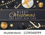 christmas greeting card. golden ... | Shutterstock .eps vector #1239068599