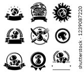 mushrooms label and icons set.... | Shutterstock .eps vector #1239087220