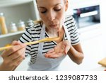 close up of healthy young woman ...   Shutterstock . vector #1239087733