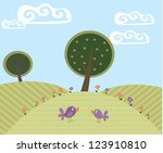 cute cartoon landscape with... | Shutterstock .eps vector #123910810