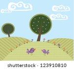 cute cartoon landscape with... | Shutterstock .eps vector #123910810