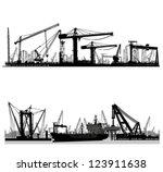 Shipyard  Harbor Skyline Vecto...