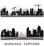 highway silhouette .city skyline | Shutterstock .eps vector #123912466
