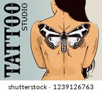 tattoo studio banner. woman... | Shutterstock .eps vector #1239126763