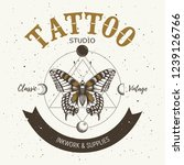 tattoo studio banner. classic... | Shutterstock .eps vector #1239126766