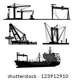ship and crane.vector elements | Shutterstock .eps vector #123912910