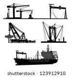 ship and crane.vector elements | Shutterstock .eps vector #123912910
