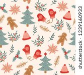 seamless christmas pattern... | Shutterstock .eps vector #1239160933