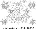 beautiful christmas bells bow... | Shutterstock .eps vector #1239198256