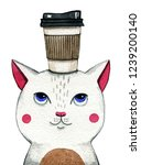 Cat With Coffee. Watercolor...