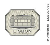 stamp with tram and the words... | Shutterstock .eps vector #1239207793