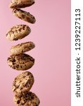 chocolate chip cookies falling  ... | Shutterstock . vector #1239227113