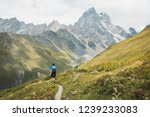 young man hiking in the... | Shutterstock . vector #1239233083