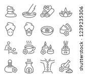 spa massage related vector line ... | Shutterstock .eps vector #1239235306