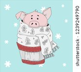 pig. symbol of the new year... | Shutterstock .eps vector #1239249790