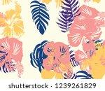tropical background. green ...   Shutterstock .eps vector #1239261829