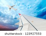airplane wing  sky and clouds   Shutterstock . vector #123927553