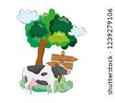 garden with wooden arrow signal ... | Shutterstock .eps vector #1239279106