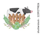 cow farm animal with garden and ... | Shutterstock .eps vector #1239279826