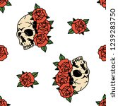 skull with rose flowers tattoo... | Shutterstock .eps vector #1239283750