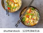 top view of two oriental plates ...   Shutterstock . vector #1239286516