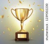 3d realistic vector golden cup... | Shutterstock .eps vector #1239302230