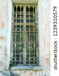 ancient window with metal bars... | Shutterstock . vector #1239310579