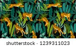 seamless exotic pattern with... | Shutterstock .eps vector #1239311023