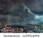 flood and storm in the city | Shutterstock . vector #1239316993