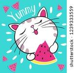 cute cat loves watermelon | Shutterstock .eps vector #1239333559