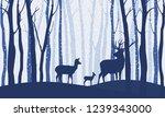 deer in winter forest vector...   Shutterstock .eps vector #1239343000