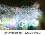 Christmas light track, city night - stock photo