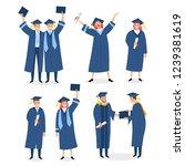 happy graduates set with... | Shutterstock .eps vector #1239381619
