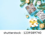 christmas flatlay background.... | Shutterstock . vector #1239389740