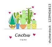 set of trendy cactus.... | Shutterstock .eps vector #1239406813