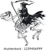 grim reaper with scythe riding...   Shutterstock .eps vector #1239406999