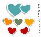 vintage hearts set  valentines... | Shutterstock .eps vector #123941929