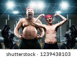funny bodybuilders shows muscle ... | Shutterstock . vector #1239438103