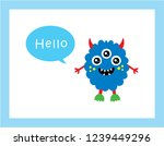 cute monster hello greeting card | Shutterstock .eps vector #1239449296