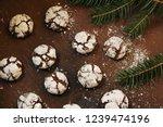 homemade chocolate crinkles  ... | Shutterstock . vector #1239474196