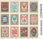 vector postage stamps set.... | Shutterstock .eps vector #123948478