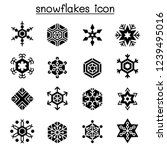snowflakes icon set in flat... | Shutterstock .eps vector #1239495016